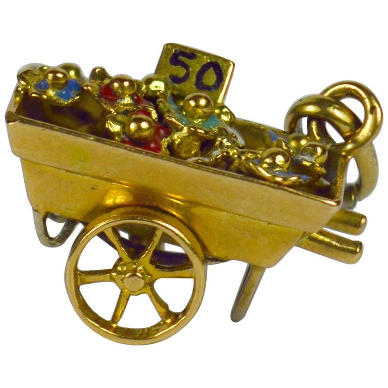 French Yellow Gold Enamel Flower Cart Charm Pendant For Sale