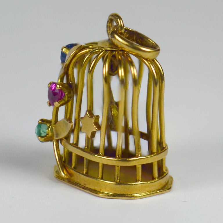 French Yellow Gold Gem Set Bird Cage Stars Charm Pendant For Sale 1