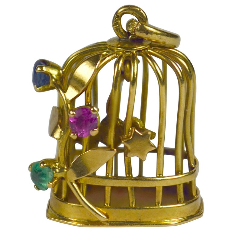 French Yellow Gold Gem Set Bird Cage Stars Charm Pendant For Sale