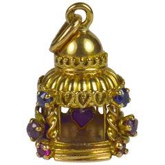 French Yellow Gold Gem Set Love Heart Lovers Pavilion Charm Pendant