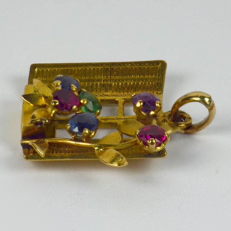 French Yellow Gold Gem Set Open Window Flower Box Charm Pendant In Good Condition For Sale In London, GB