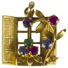 French Yellow Gold Gem Set Open Window Flower Box Charm Pendant