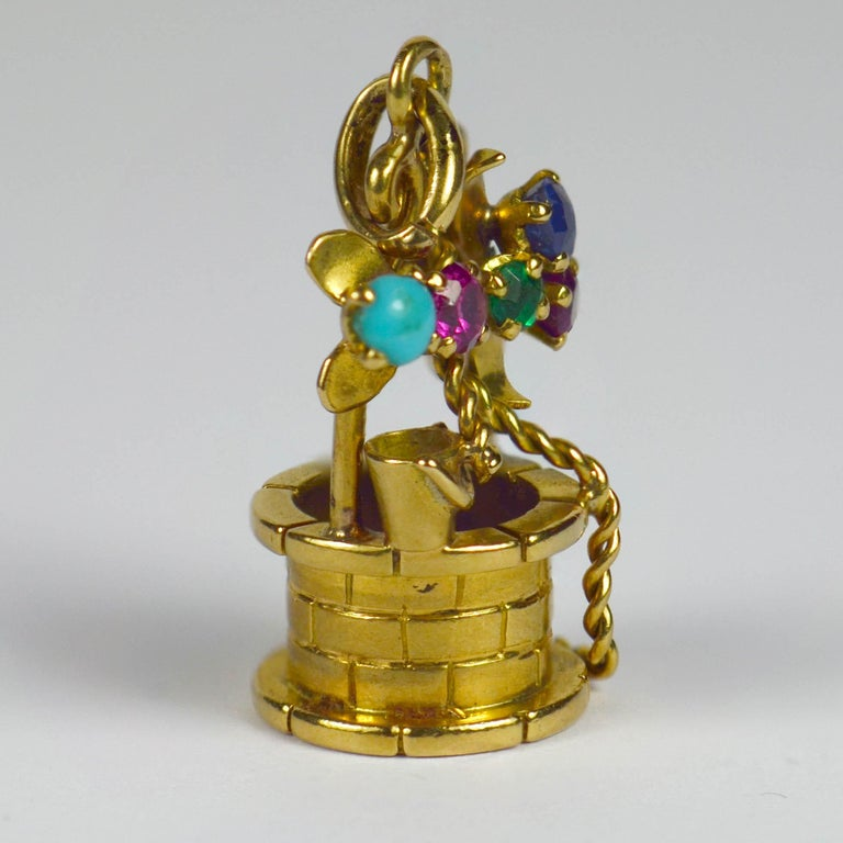 French Yellow Gold Gem Set Wishing Well Charm Pendant For Sale 1