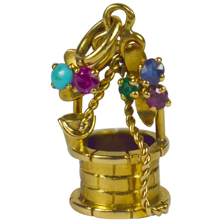 French Yellow Gold Gem Set Wishing Well Charm Pendant For Sale