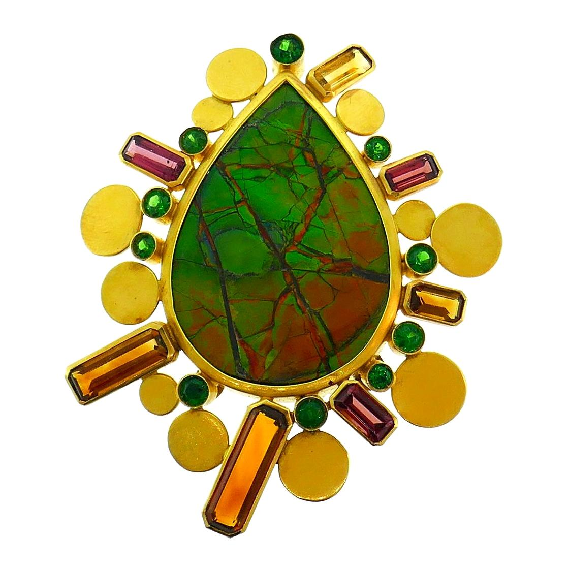 French Yellow Gold Pendant Pin Brooch Clip by Christine Escher Ammolite Garnet