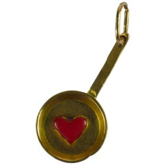 French Yellow Gold Red Enamel Love Heart 'Fricassee' Kisses Charm Pendant