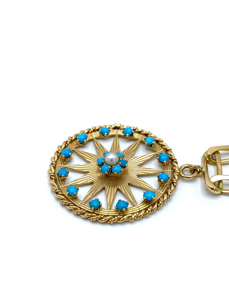 Round Cut French Yellow Gold, Turquoise and Pearl Paper Clip Chain Bracelet w/ Charm For Sale