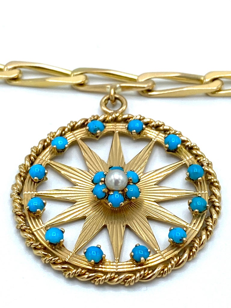 French Yellow Gold, Turquoise and Pearl Paper Clip Chain Bracelet w/ Charm For Sale 1