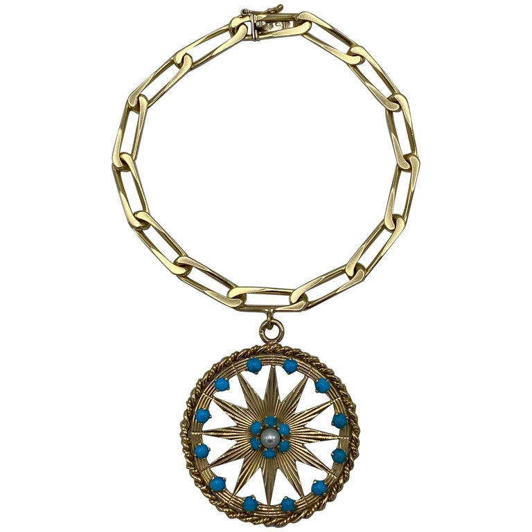 French Yellow Gold, Turquoise and Pearl Paper Clip Chain Bracelet w/ Charm For Sale