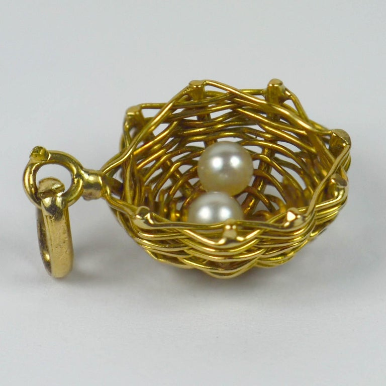 French Yellow Gold White Pearl Eggs in Bird Nest Charm Pendant In Good Condition For Sale In London, GB