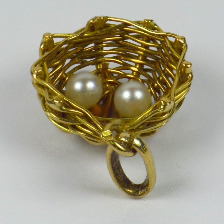 Women's French Yellow Gold White Pearl Eggs in Bird Nest Charm Pendant For Sale