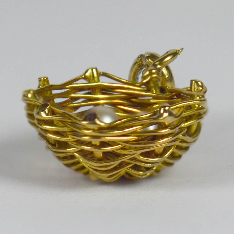 French Yellow Gold White Pearl Eggs in Bird Nest Charm Pendant For Sale 1