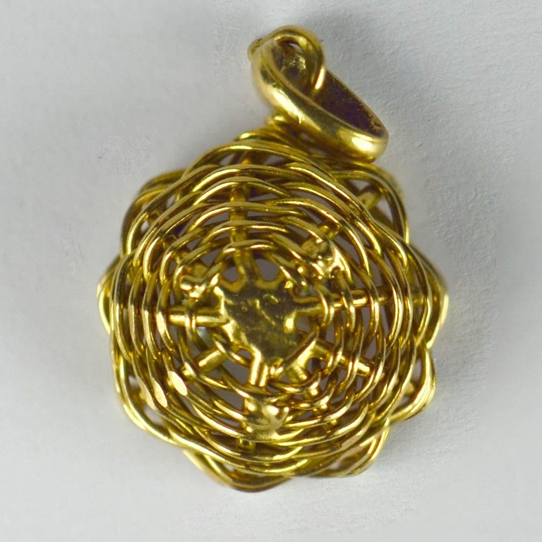 French Yellow Gold White Pearl Eggs in Bird Nest Charm Pendant For Sale 3
