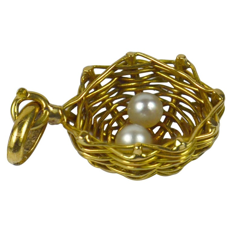French Yellow Gold White Pearl Eggs in Bird Nest Charm Pendant For Sale