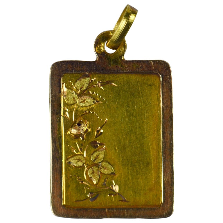 French Yellow Rose Gold Floral Frame Charm Pendant For Sale