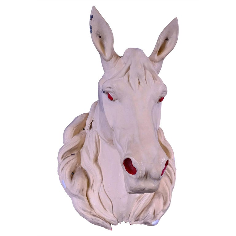 French Zinc Horse Head, circa 1930 For Sale