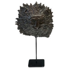 French Zinc Lion Head Fragment on Stand, circa 1780