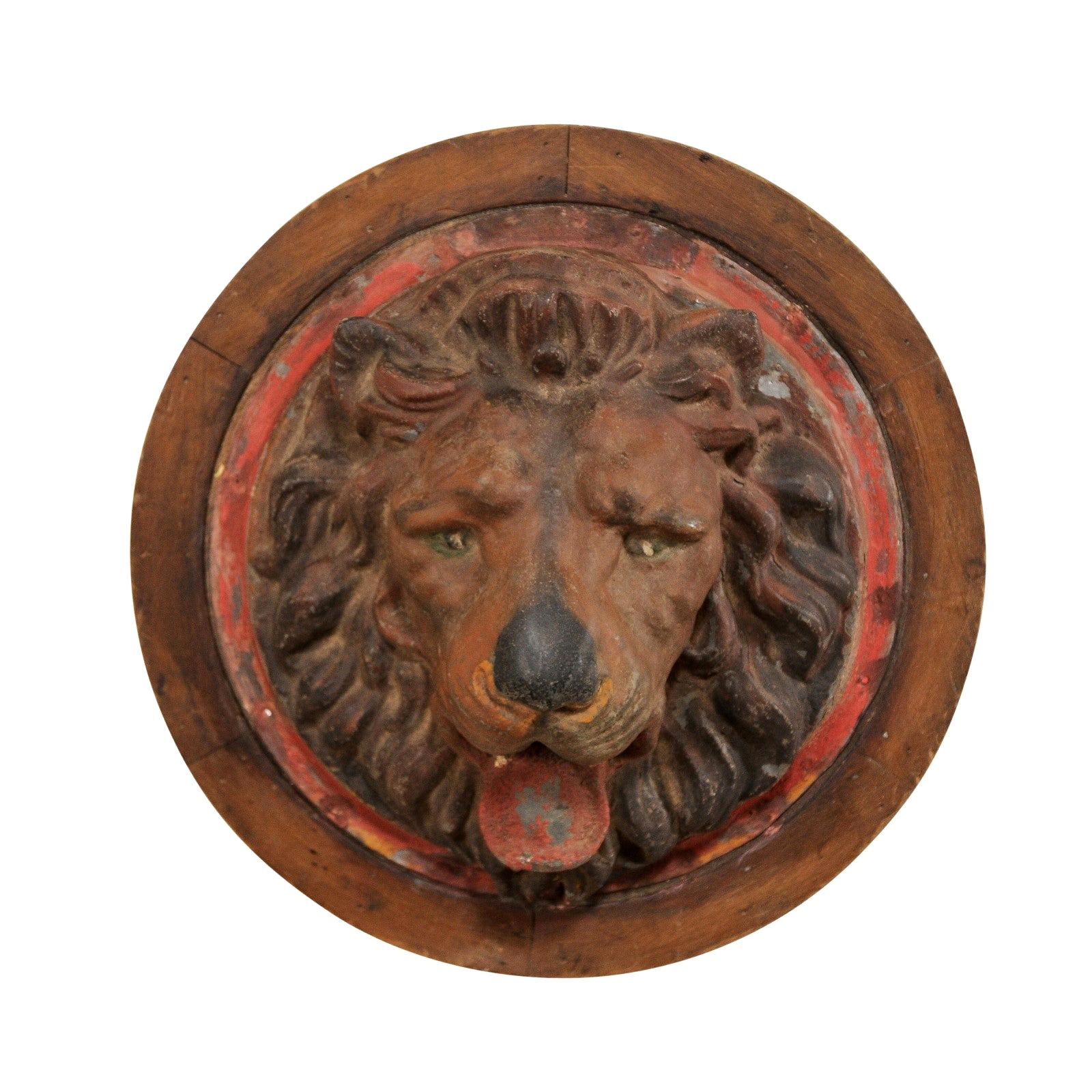 French Zinc Lion Head Wall Plaque from Early 20th Century