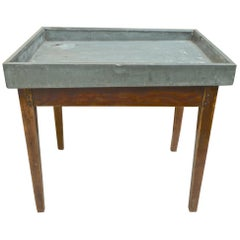 French Zinc Top Flower or Vegetable Potting Table with One Corner Drainage Hole