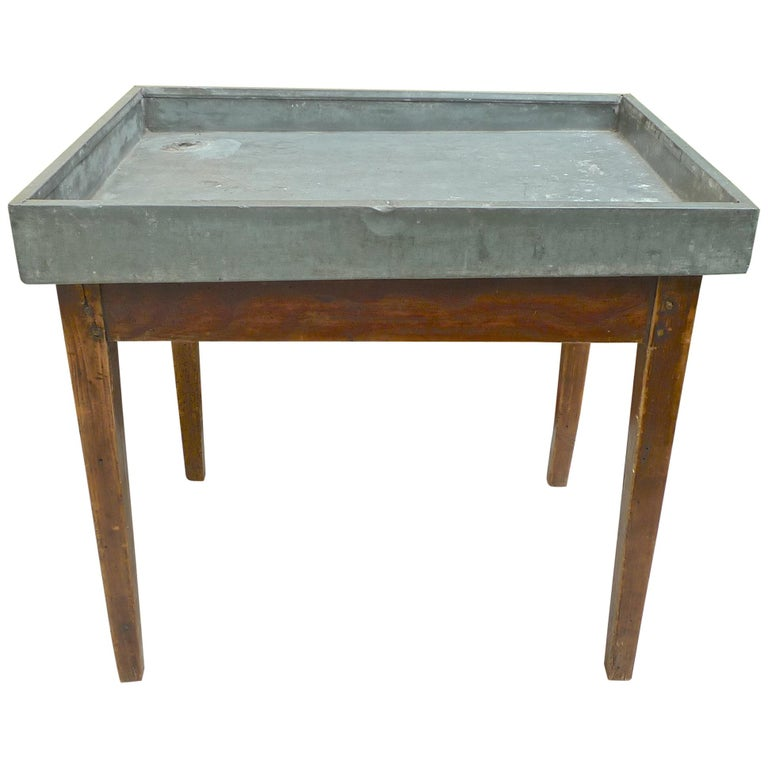 French Xix Zinc Top Flower Potting Table With 1 One Corner Drainage Hole For At 1stdibs