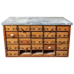 French Zinc Topped Storage Shelf with Antique Boxes