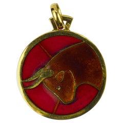 French Zodiac Taurus Plique A Jour Enamel 18K Yellow Gold Charm Pendant