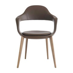 Frenchkiss High-Backed Wooden-Legged Chair by Stefano Bigi