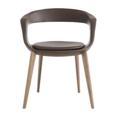 Frenchkiss Low-Backed Wooden-Legged Chair by Stefano Bigi