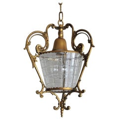 Frensh Art Deco Gilt Bronze and Cut Glass Lantern, Pendant