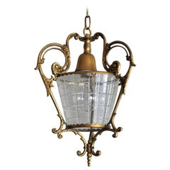 French Art Deco Gilt Bronze and Cut Glass Lantern, Pendant