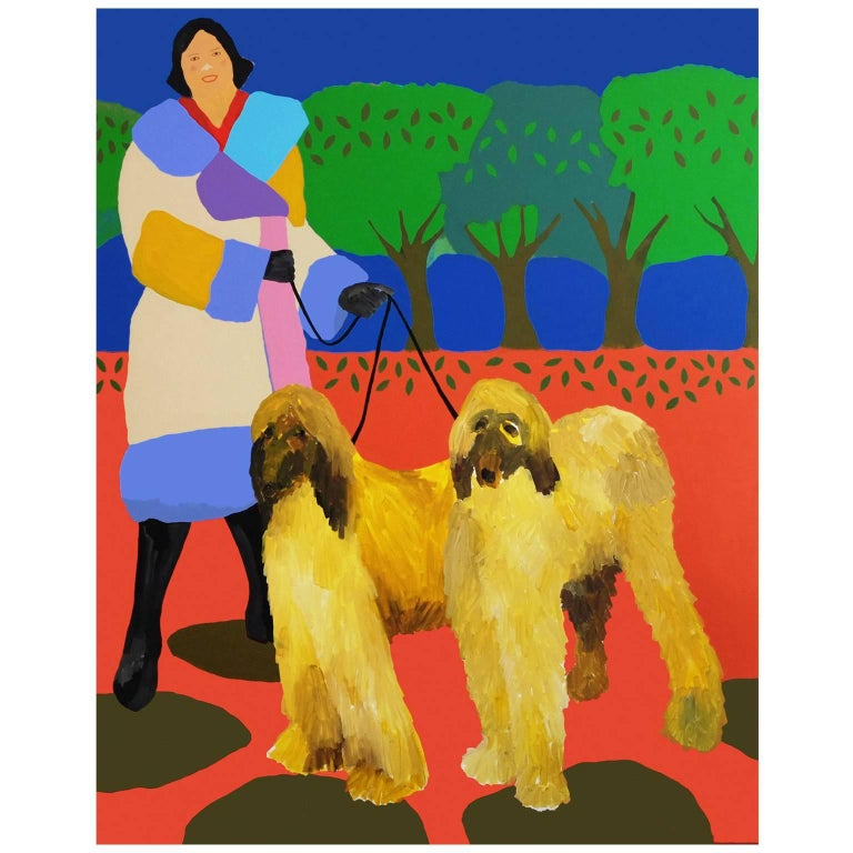'Fresh Coats' Figurative Portrait Painting by Alan Fears Pop Art Dog Fashion For Sale