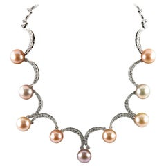 Fresh Cultured Pearl & Diamond 18k White Gold Ladies Cast & Assembled Necklace