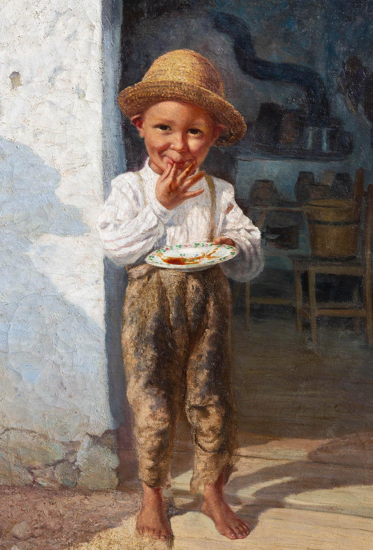 Endearing 19th century painting of a young boy enjoying homemade jam by Hans Chytra. Oil on canvas Hans Chitra (1869-1933), Austrian artist, graduated from the Academy of Fine Arts in Vienna.