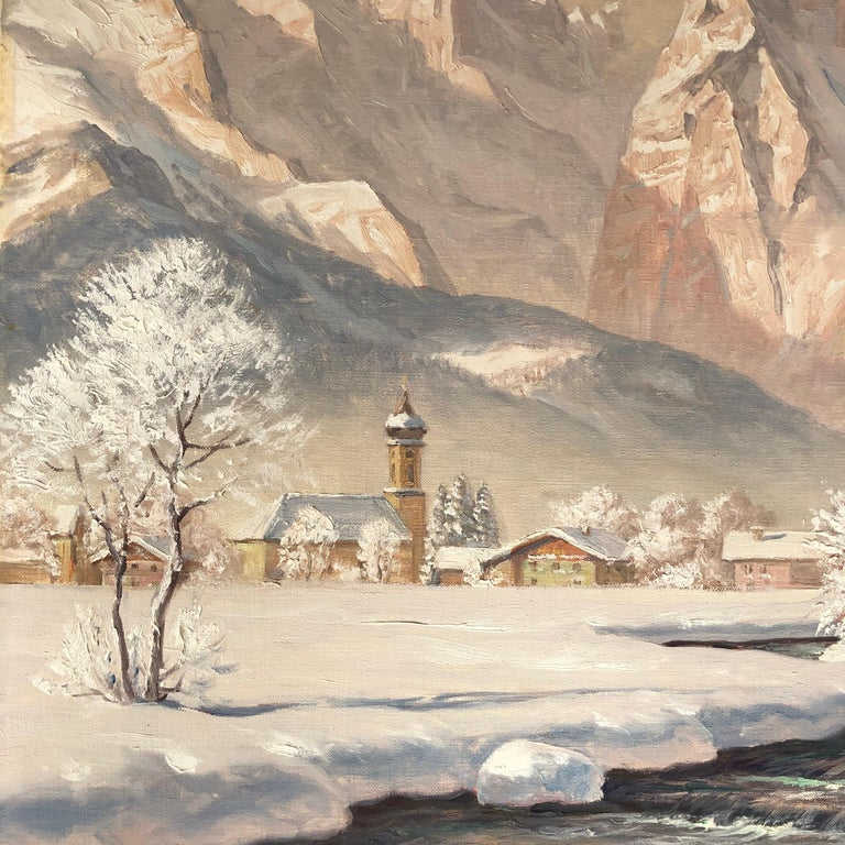 """Oil on canvas, signed lower right. Erwin Kettemann (1897–1971) was a landscape painter from Munich. He was a representative of late Impressionism as well as the 19th century """"Karlsruher Schule"""". In the style of the Karlruhe Schule, a close study"""