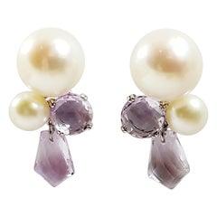 Fresh Water Pearl with Amethyst Earrings Set in 18 Karat White Gold Settings