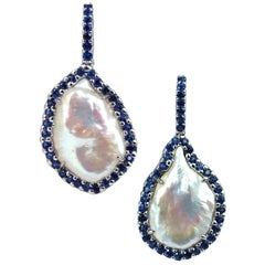 Fresh Water Pearl with Blue Sapphire 1.94 cts Earrings in 18k White Gold Setting