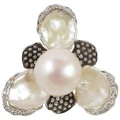 Fresh Water Pearl with Brown Diamond Ring Set in 18 Karat White Gold Settings