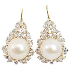 Fresh Water Pearl with White Sapphire Earring Set in 18 Karat Gold Settings