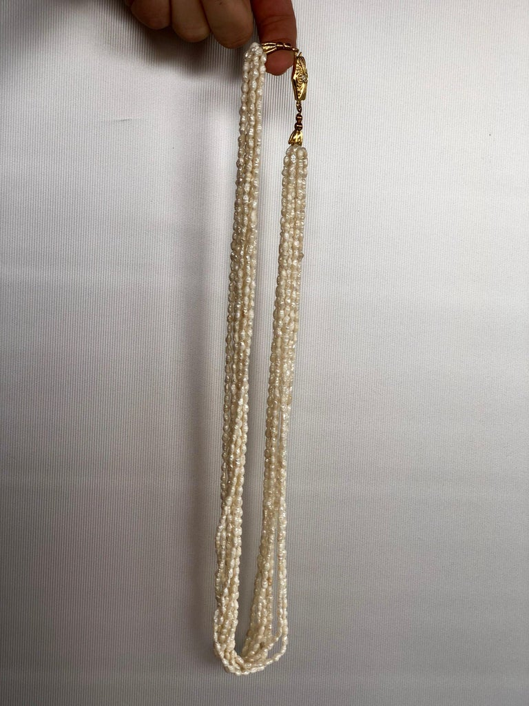 Mid-Century Modern Fresh Water White Pearls 8 Stand Multi Necklace For Sale