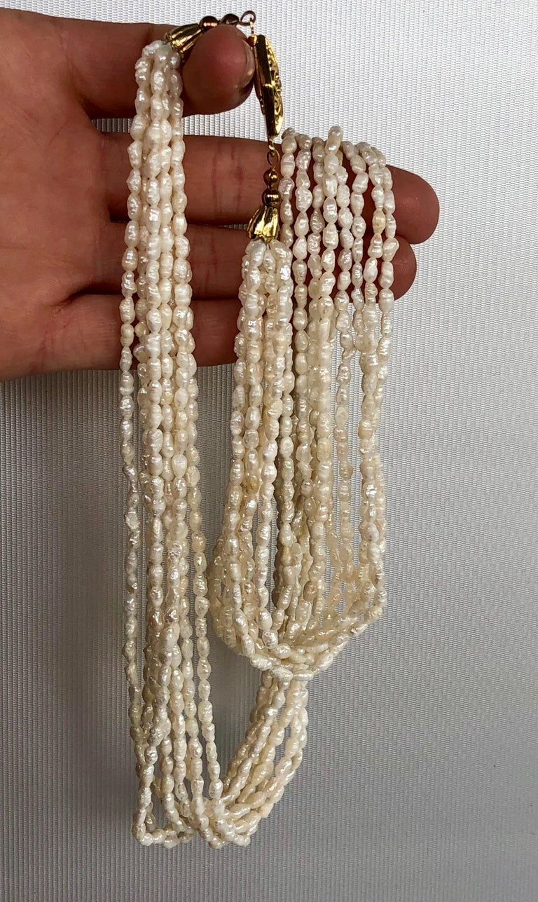 Unknown Fresh Water White Pearls 8 Stand Multi Necklace For Sale