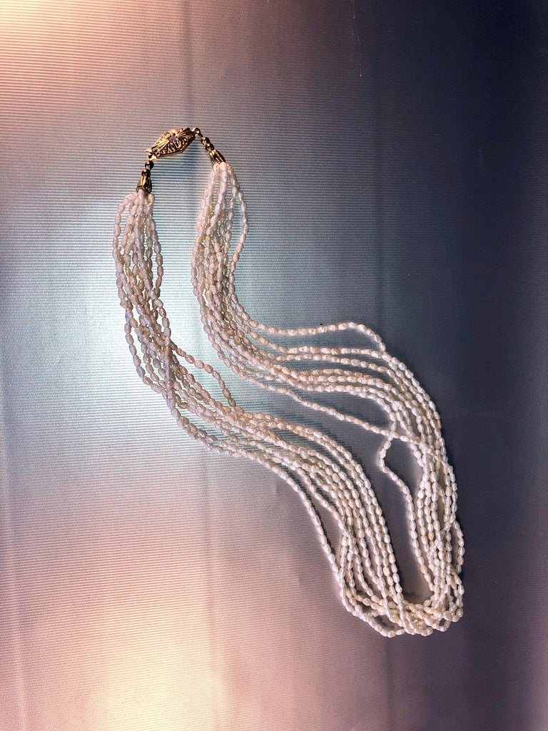 Other Fresh Water White Pearls 8 Stand Multi Necklace For Sale