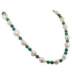 Freshwater Pearl and Amazonite Necklace June Birthstone