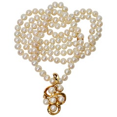 Akoya Pearl Yellow Gold Pendant Necklace with Diamond Accents