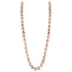 Freshwater Baroque Natural Color Peach Cultured Pearl Necklace 18KY Gold Clasp