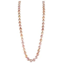 Freshwater Baroque Natural-Color Peach Cultured Pearl Necklace - 18K Gold Clasp