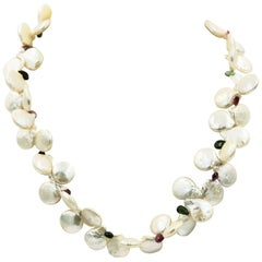 Freshwater Coin Pearl and Tourmaline Necklace with Sterling Silver Clasp