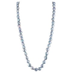 Freshwater Grey Color Baroque Rope Necklace with 14 Karat White Gold Ball Clasp