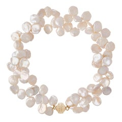 White Freshwater Keshi Pearl Double Strand Necklace