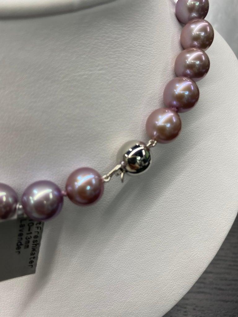 Freshwater Lavender Pearl Strand Necklace 14 Karat White Gold For Sale 4