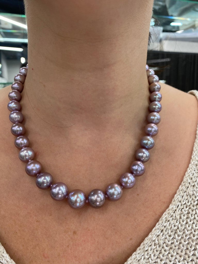 Freshwater Lavender Pearl Strand Necklace 14 Karat White Gold For Sale 5